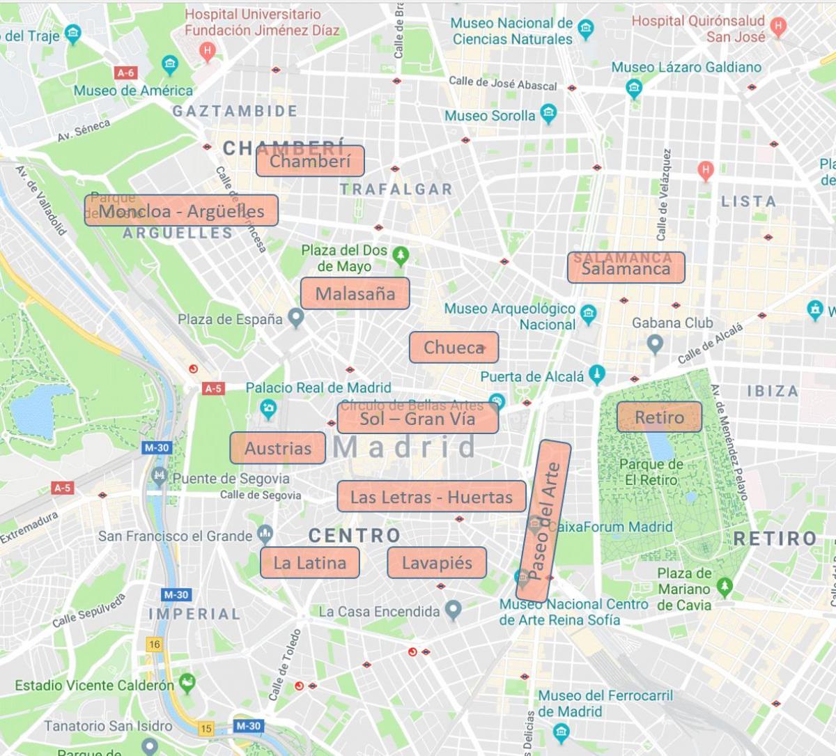 Madrid Cartier Harta Hartă Din Madrid Spania Cartiere Spania